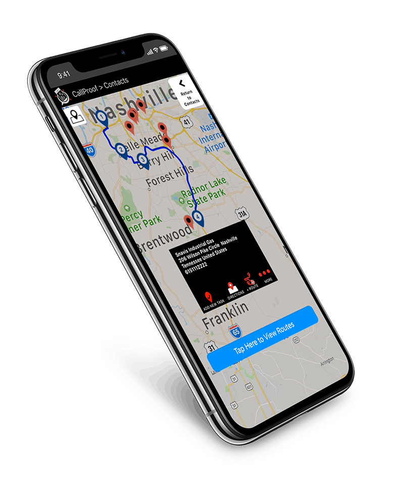 CallProof CRM. Original Mobile CRM for GMail & Outlook. Route Planning & Mapping.